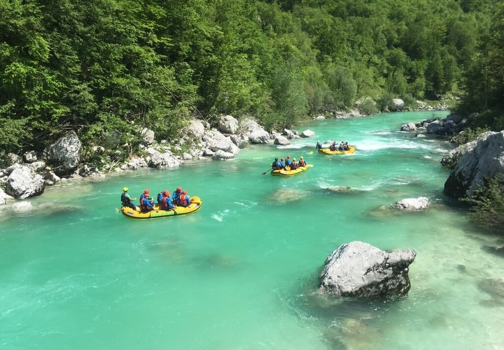 Splavovanie rieky Soča v Slovinsku